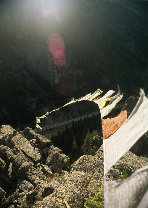 U.s. Highway 191 Greeting Card featuring the photograph Tibetan Buddhist Prayer Flags by Gordon Wiltsie