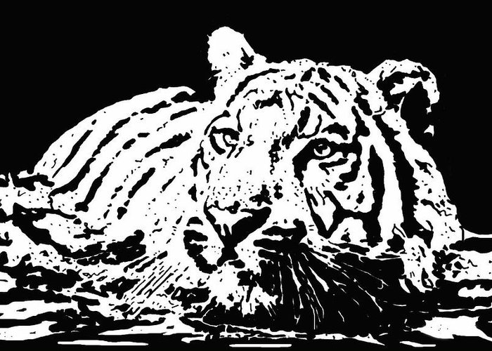 Tiger Greeting Card featuring the drawing Tiger 2 by Lori Jackson