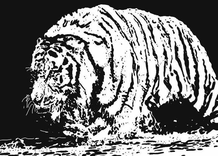 Tiger Greeting Card featuring the drawing Tiger 3 by Lori Jackson