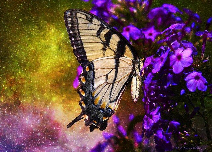 J Larry Walker Greeting Card featuring the digital art Tiger Swallowtail Feeding In Outer Space by J Larry Walker