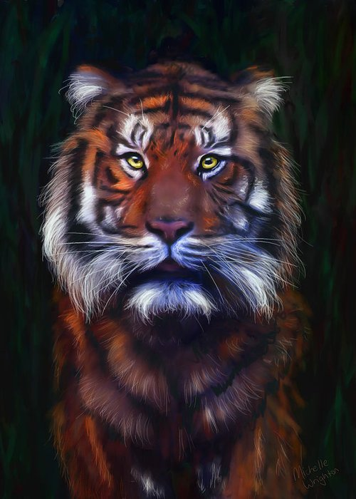 Tigers Greeting Card featuring the painting Tiger Tiger by Michelle Wrighton