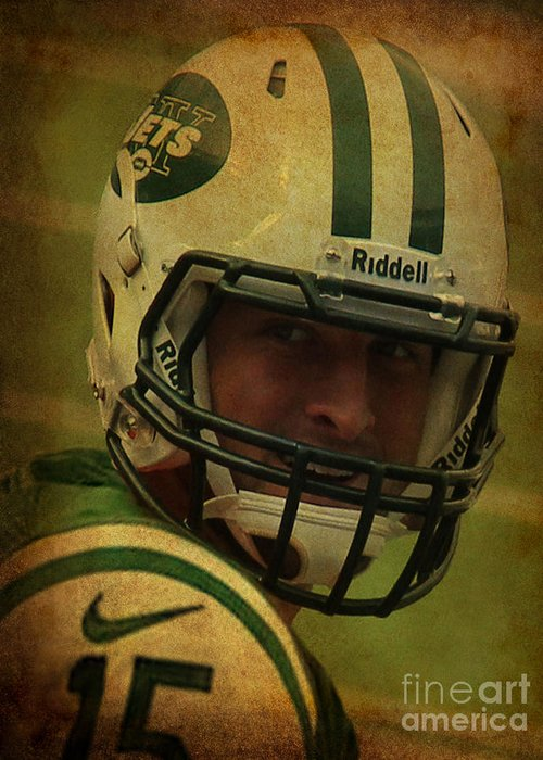 Lee Dos Santos Greeting Card featuring the photograph Tim Tebow - New York Jets - Timothy Richard Tebow by Lee Dos Santos