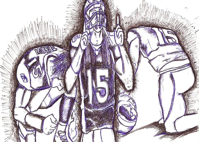 Tebowing Greeting Card featuring the drawing Tim Tebow Glory by HPrince De Artist