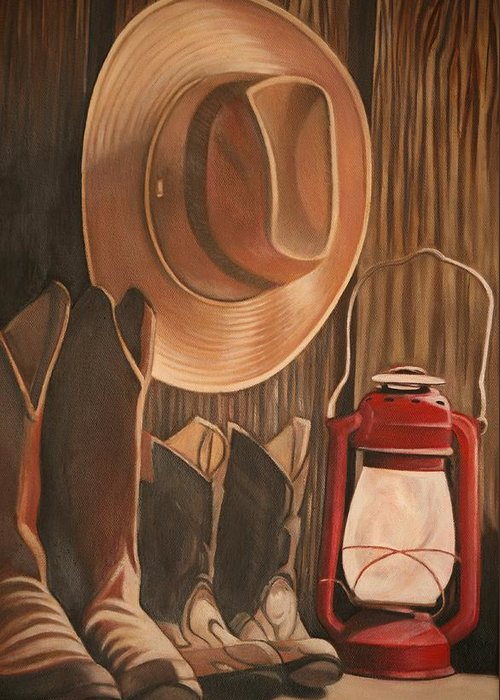 Cowboy Hat Greeting Card featuring the painting Time Past by Stephanie L Carr
