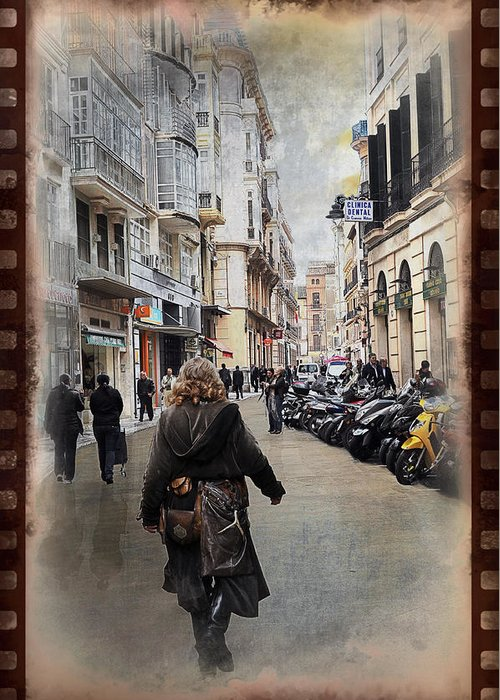 Time Greeting Card featuring the photograph Time Warp In Malaga by Mary Machare