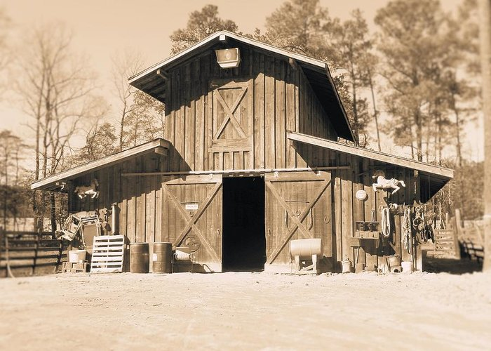 Barn Greeting Card featuring the photograph Times Past.... by Melody McCoy