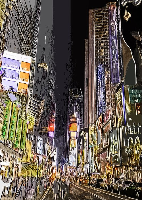 Nyc Greeting Card featuring the photograph Times Square Abstract by Robert Ponzoni