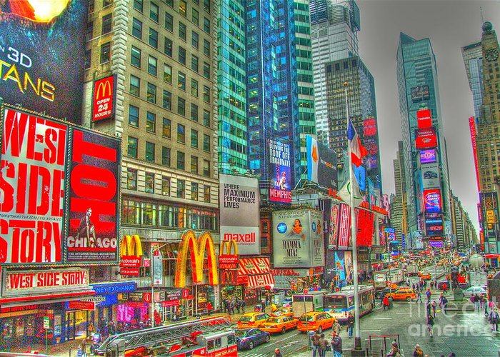 Times Square Greeting Card featuring the digital art Times Square One by Alberta Brown Buller
