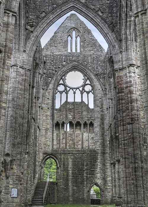 Abbey Greeting Card featuring the photograph Tintern Abbey-wales by Geraldine Alexander