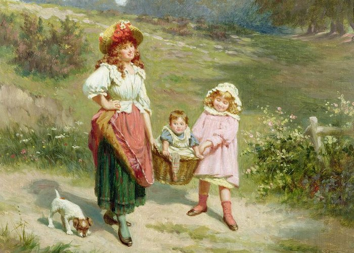 Puppy; Baby; Basket; Country Road; Girl Greeting Card featuring the painting To Market To Buy A Fat Pig by Edwin Thomas Roberts