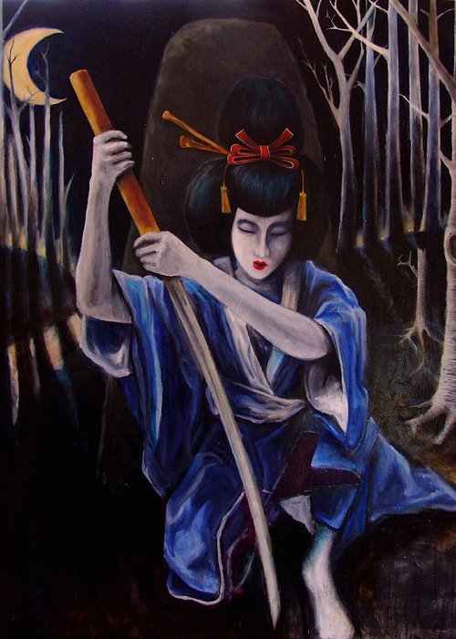 Geisha Greeting Card featuring the painting To Reflect Upon The Sword by Cahl Schroedl