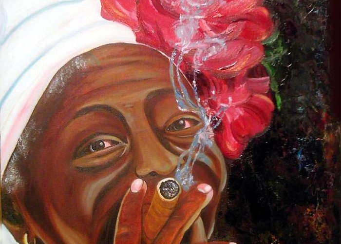Cuban Art Greeting Card featuring the painting Tobacco Lady by Jose Manuel Abraham