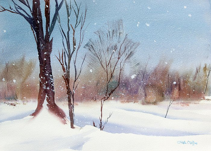Winter Landscape Greeting Card featuring the painting Today's Blanket. by Josh Chilton