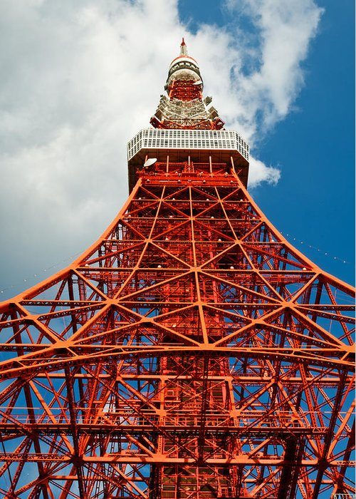 Architecture Greeting Card featuring the photograph Tokyo Tower Face Cloudy Sky by U Schade