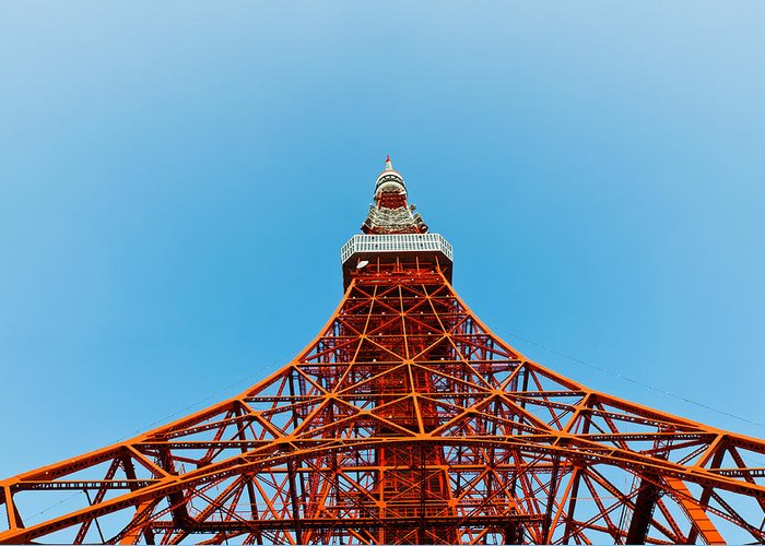 Architecture Greeting Card featuring the photograph Tokyo Tower Faces Blue Sky by Ulrich Schade