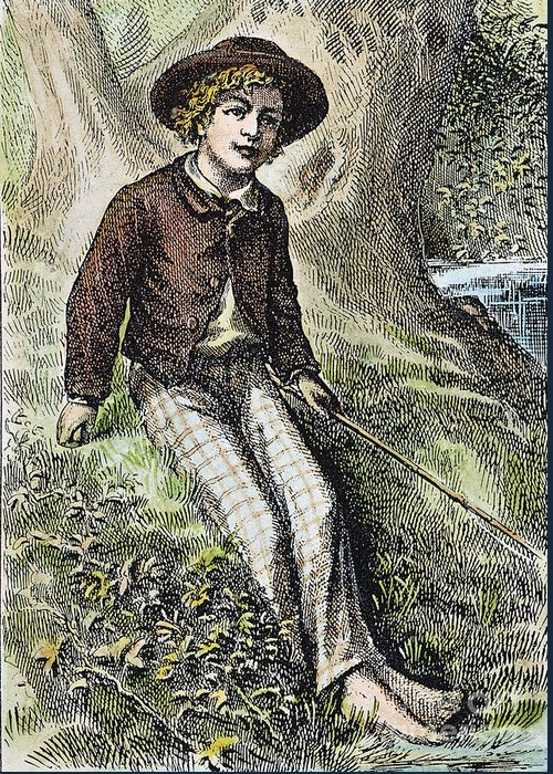 1876 Greeting Card featuring the photograph Tom Sawyer, 1876 by Granger