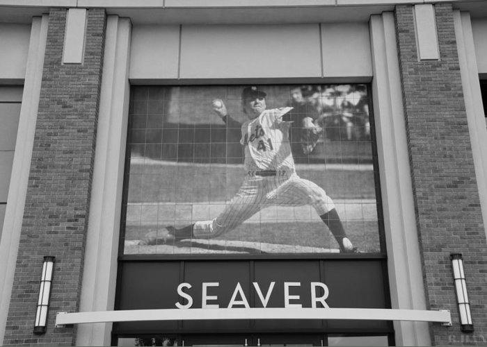 Shea Stadium Greeting Card featuring the photograph Tom Seaver 41 In Black And White by Rob Hans