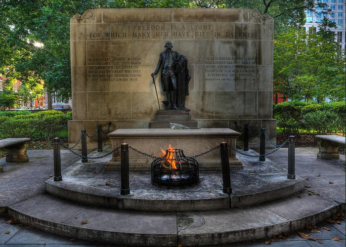 Lee Dos Santos Greeting Card featuring the photograph Tomb Of The Unknown Revolutionary War Soldier II - George Washington by Lee Dos Santos