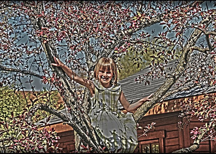Little Girl In Tree.spring Blossoms Greeting Card featuring the photograph Tomboy In The Tree by Randall Branham