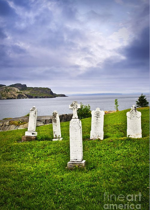 Graveyard Greeting Card featuring the photograph Tombstones Near Atlantic Coast In Newfoundland by Elena Elisseeva