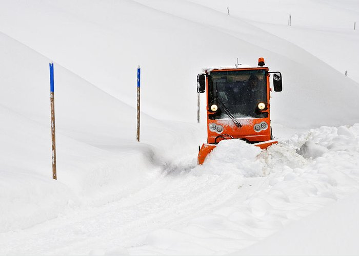 Winter Road Clearance Greeting Card featuring the photograph Tons Of Snow - Winter Road Clearance by Matthias Hauser