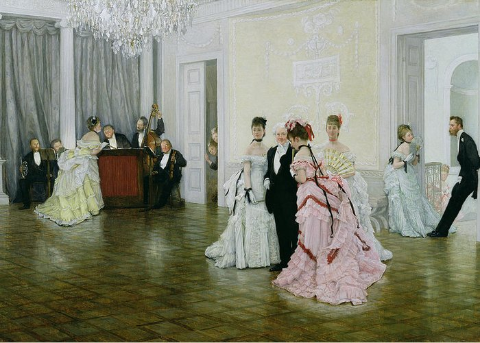 Interior Greeting Card featuring the painting Too Early by James Jacques Joseph Tissot