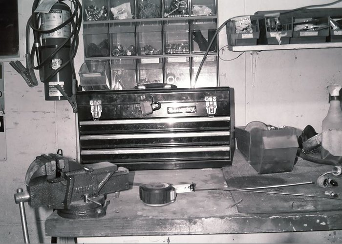 Toolbox Greeting Card featuring the photograph Tool Box And Clamp Work Area by Floyd Smith