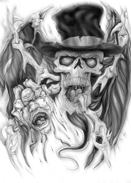 Skull Greeting Card featuring the painting Top Hat by Mike Royal