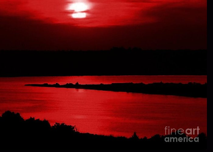 Sunset Greeting Card featuring the photograph Topsail Island Blood-red Sunset by Julie Dant