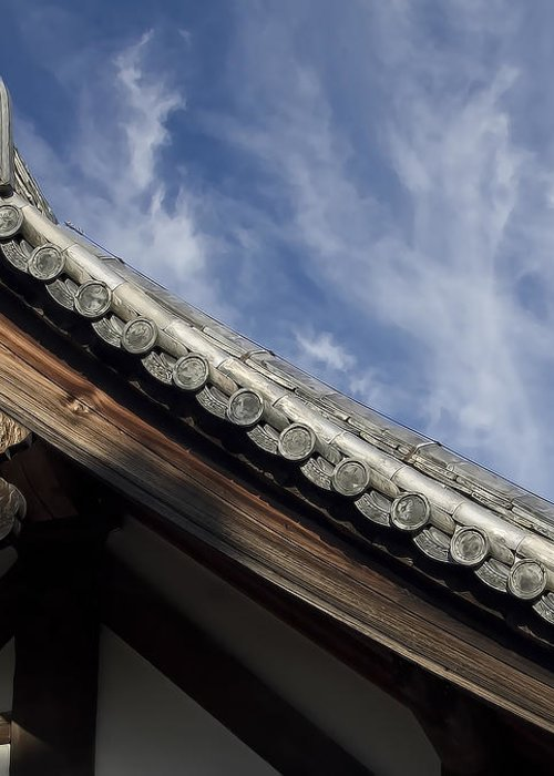 Japan Greeting Card featuring the photograph Toshodai-ji Temple Roof Gargoyle - Nara Japan by Daniel Hagerman