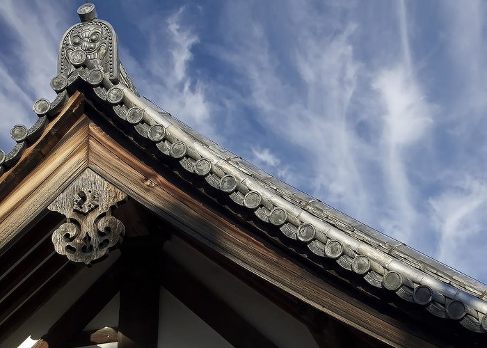Japan Greeting Card featuring the photograph Toshodai-ji Temple Roof Gargoyle - Nara Japan by Daniel Hagerman