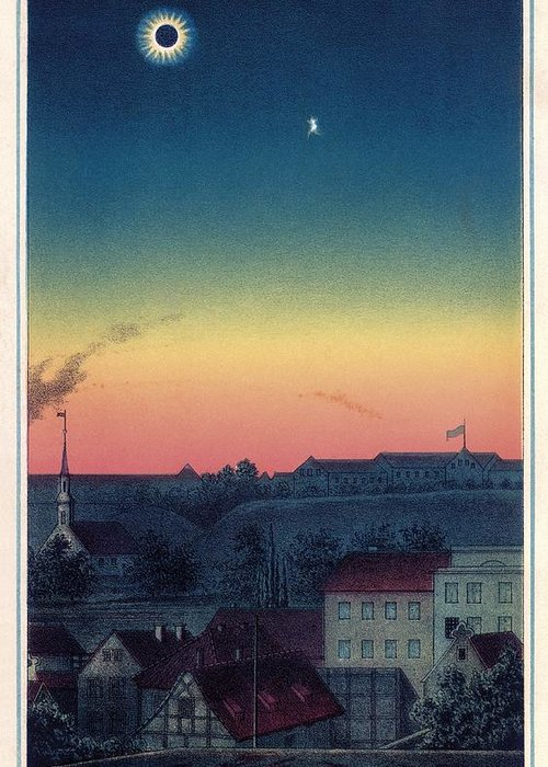 1800s Greeting Card featuring the photograph Total Solar Eclipse, 1851 Artwork by Detlev Van Ravenswaay