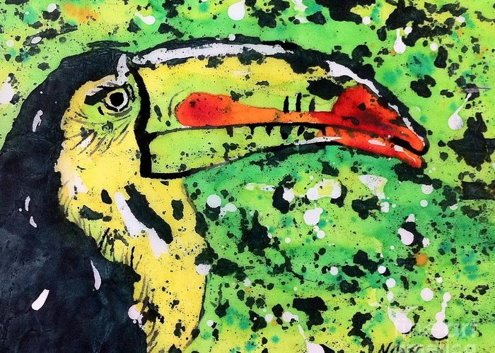 Nature Greeting Card featuring the painting Toucan by Norma Gafford