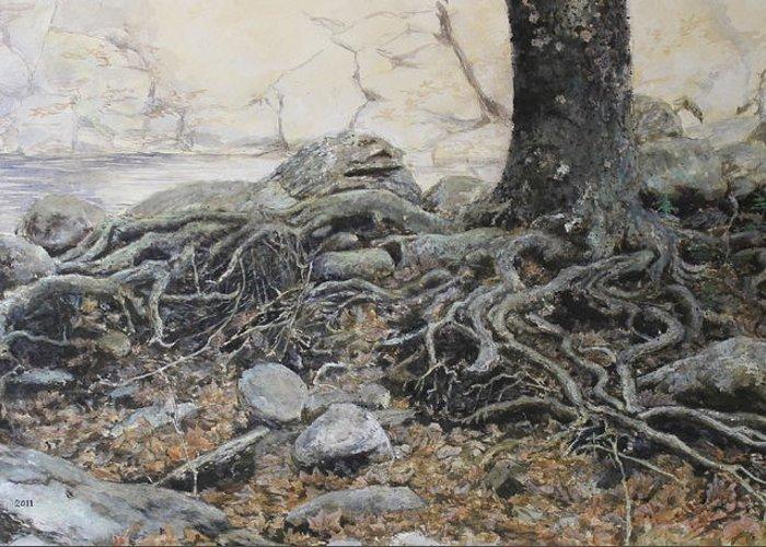 Tree Greeting Card featuring the painting Tough Tree by Yuri Ozaki
