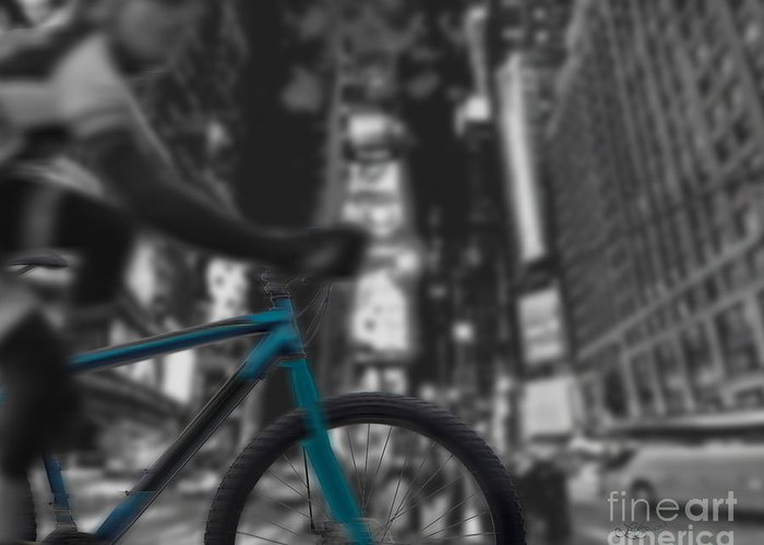 Bike Greeting Card featuring the digital art Touring The City by Linda Seacord