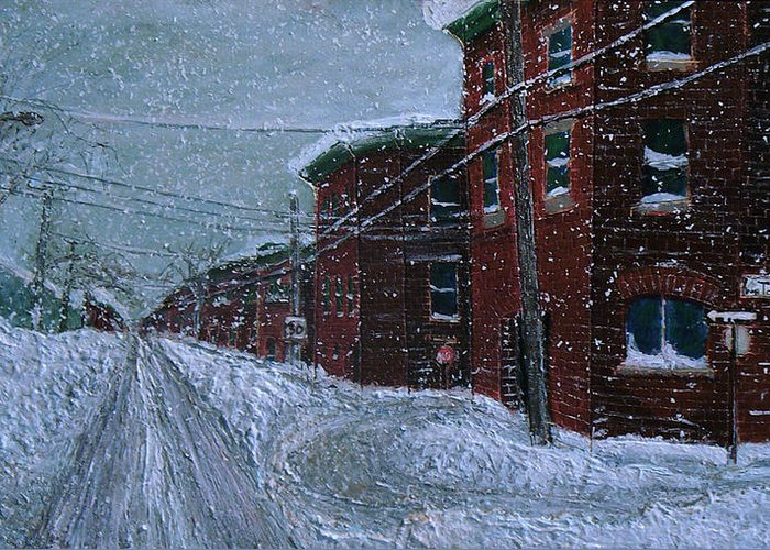 Greeting Card featuring the painting Tourville En Hiver by JE Raddatz