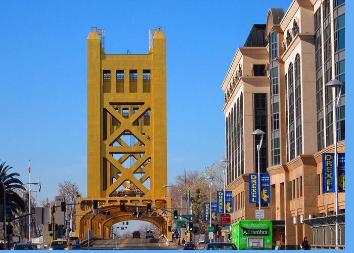 Old Town Sacramento Greeting Card featuring the photograph Tower Bridge 4 by Barry Jones