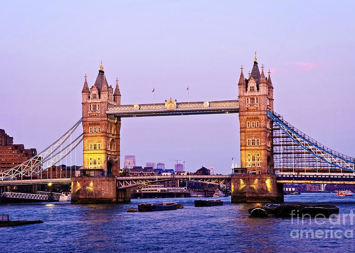 Tower Greeting Card featuring the photograph Tower Bridge In London At Dusk by Elena Elisseeva