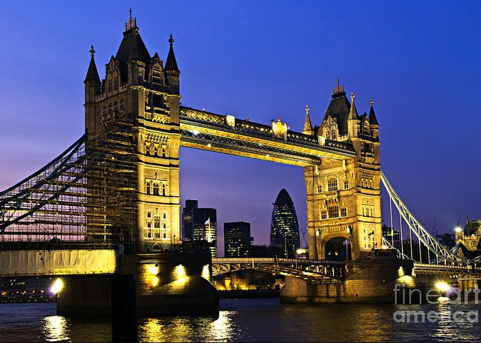 Tower Greeting Card featuring the photograph Tower Bridge In London At Night by Elena Elisseeva