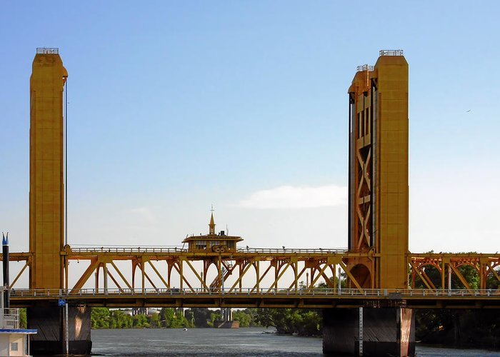 Tower Bridge Greeting Card featuring the photograph Tower Bridge Sacramento - A Golden State Icon by Christine Till