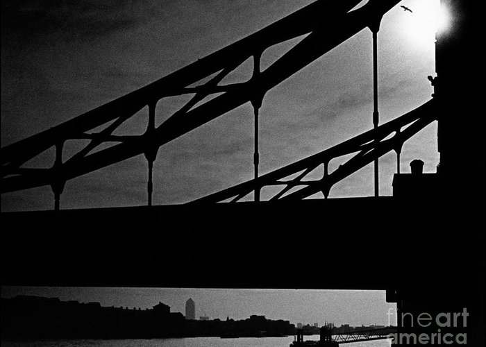 Silhouette Greeting Card featuring the photograph Tower Bridge Silhouette by Aldo Cervato
