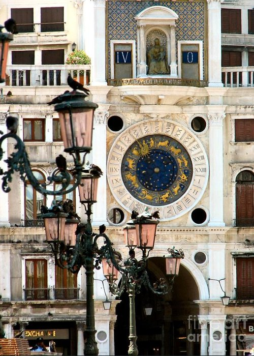 Tower Clock Greeting Card featuring the painting Tower Clock In Saint Mark's Square by Susan Holsan