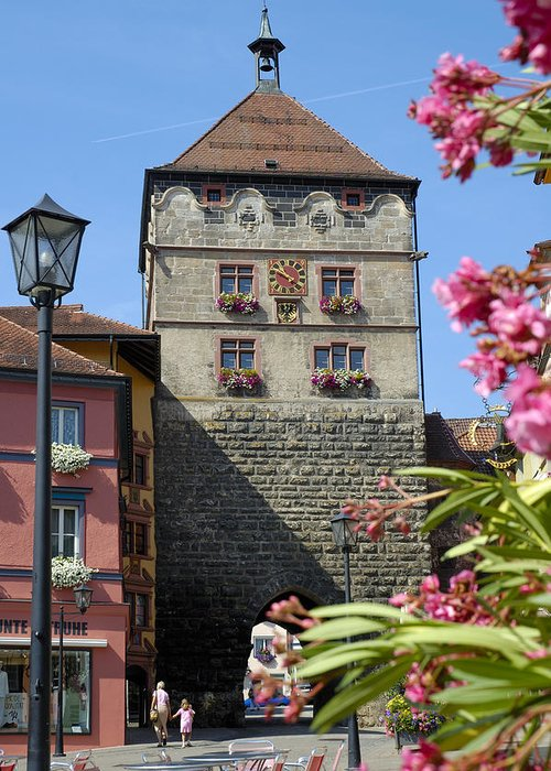 Rottweil Greeting Card featuring the photograph Tower In Old Town Rottweil Germany by Matthias Hauser