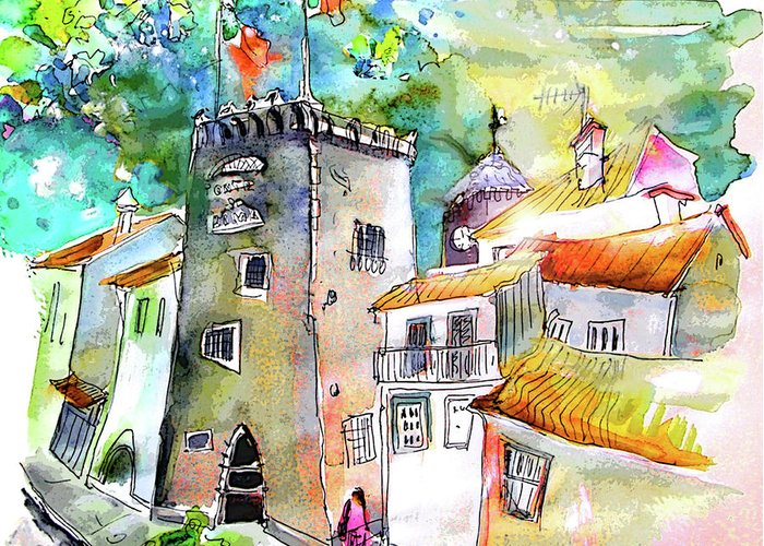 Portugal Greeting Card featuring the painting Tower in Ponte de Lima in Portugal by Miki De Goodaboom