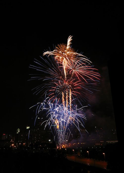 Fireworks Greeting Card featuring the photograph Tower Of Fire Power by Heidi Hermes