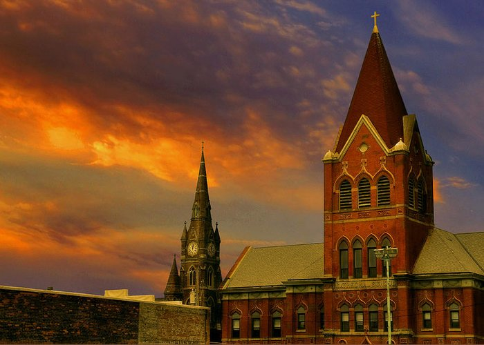 Church Greeting Card featuring the photograph Towers Of Faith by Brian Fisher