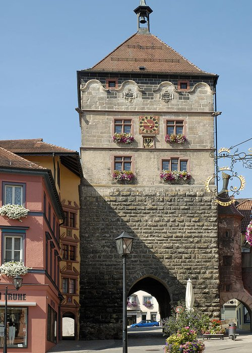 Rottweil Greeting Card featuring the photograph Town Gate Schwarzes Tor In Rottweil Germany by Matthias Hauser