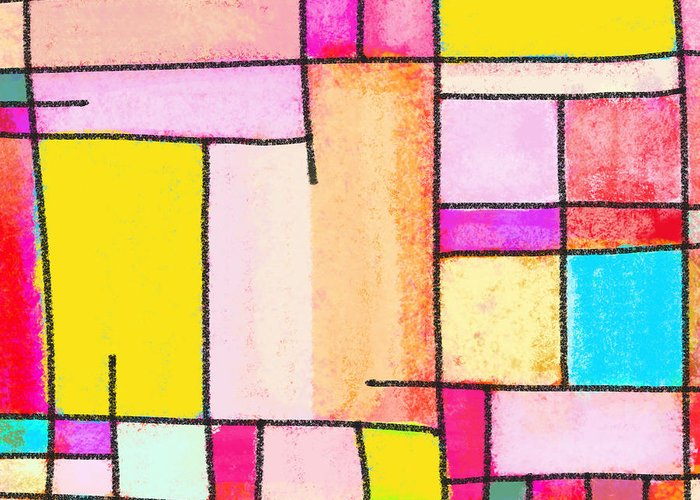 Abstract Greeting Card featuring the painting Town by Setsiri Silapasuwanchai