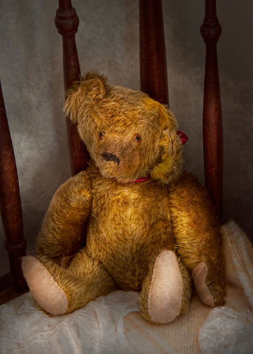 Children Greeting Card featuring the photograph Toy - Teddy Bear - My Teddy Bear by Mike Savad