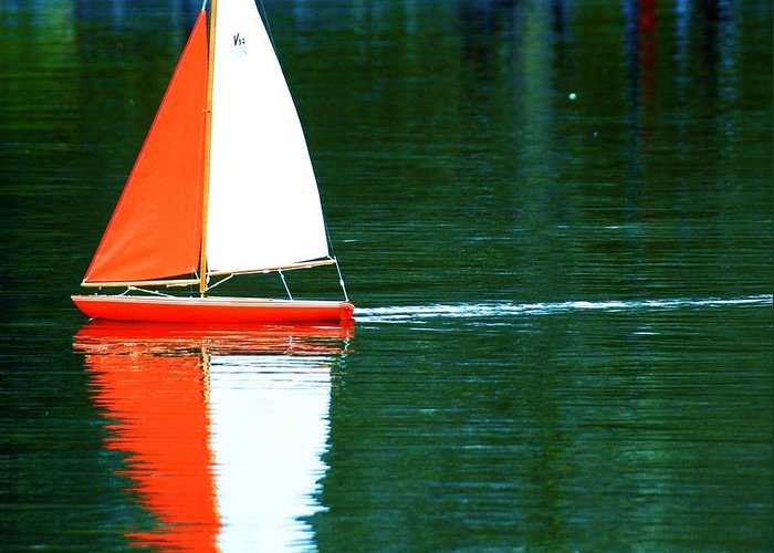 Lake Water Greeting Card featuring the photograph Toy Boat by Anna Szwiec